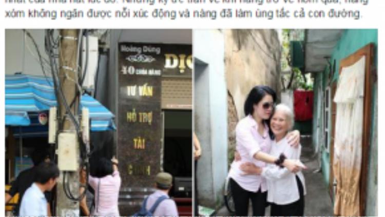 Những chia sẻ về chuyến thăm nhà của cả hai vợ chồng Thu Phương trên trang cá nhân.