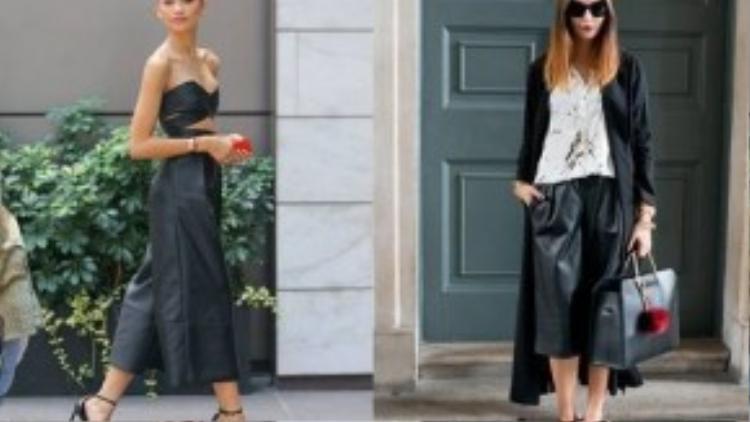Các fashionista trên thế giới sành điệu với culottes da.