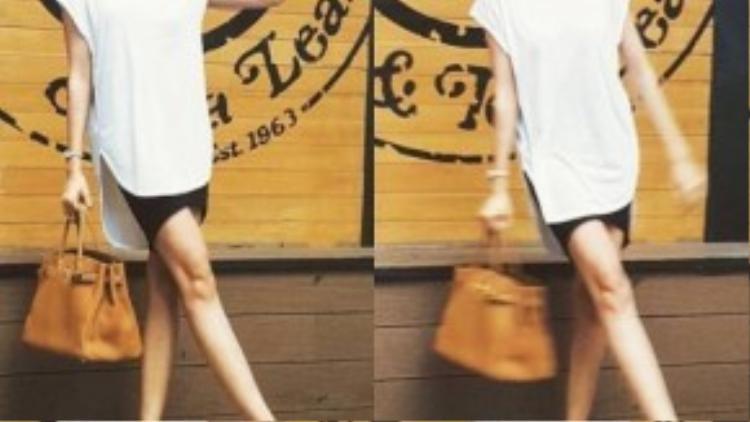 Chiếc túi oversized không hề làm mất đi sự trẻ trung như nhiều người thường nghĩ.