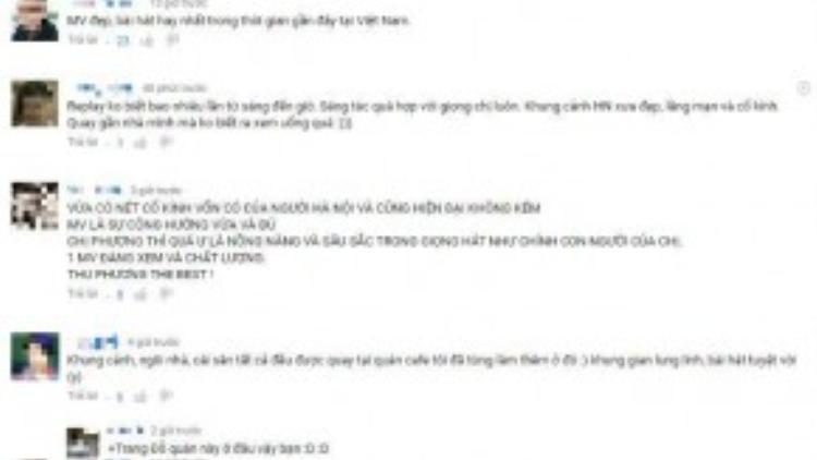 Chuỗi phải hồi tích cực từ người nghe dành cho Thu Phương bên dưới MV mới.