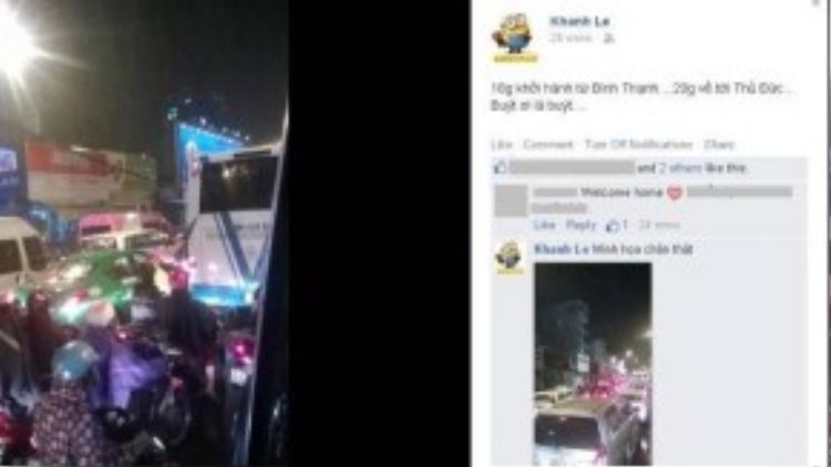 Vừa về đến nhà, chị Khanh đã ngay lập tức chia sẻ về chuyến hành trình gian nan, kéo dài gần 6 tiếng của mình trên Facebook cá nhân.