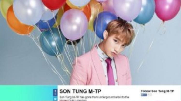 Hình ảnh và thông tin của Sơn Tùng đang được MTVđặt trang trọng trên trang web bình chọn mtvema.com.