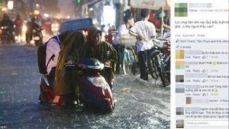 Bức ảnh chụp lại khoảnh khắc người dân vật vã đối phó với trận ngập ở Sài Gòn thu hút sự chú ý của cư dân mạng - (Ảnh chụp màn hình)