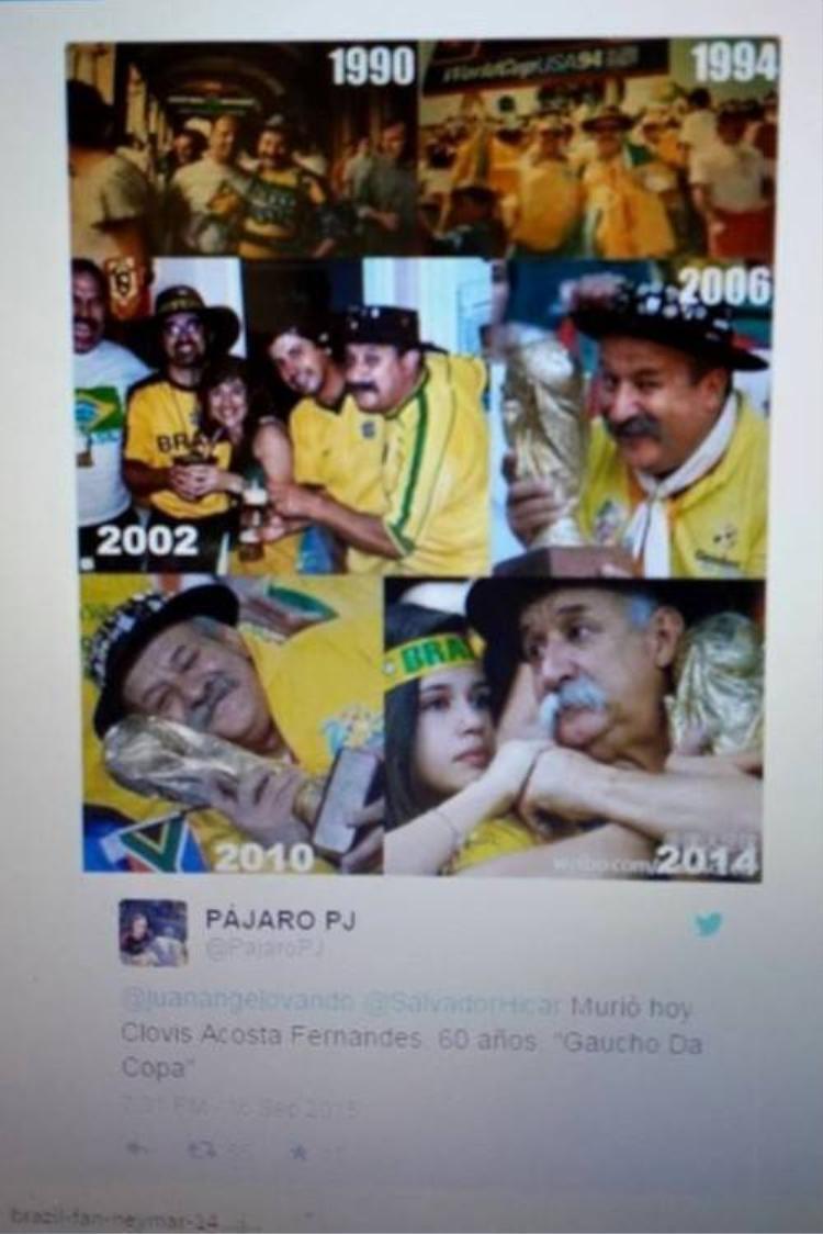Cổ động viên dễ thương nhất Brazil qua đời ở tuổi 60