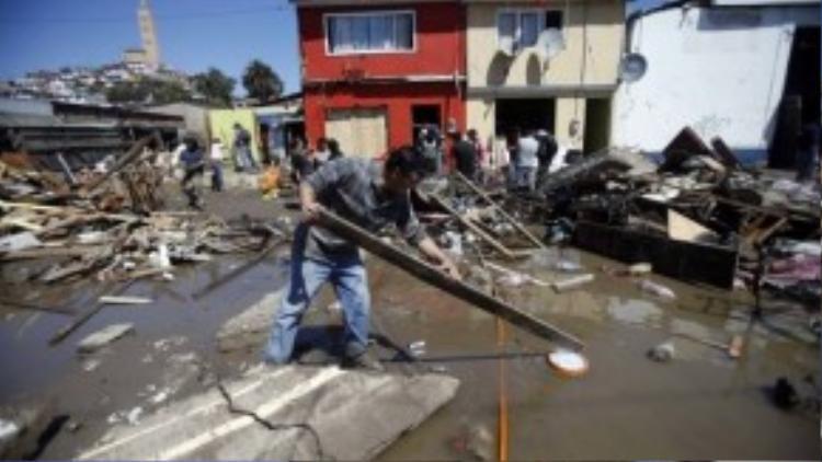 Khung cảnh hoang tàn ở Chile sau trận động đất, sóng thần hôm 17/9