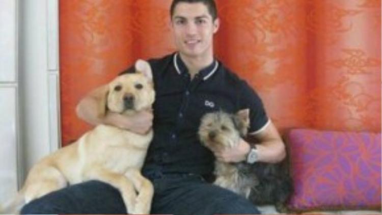 Ronaldo bên cạnh chú chó của mình.