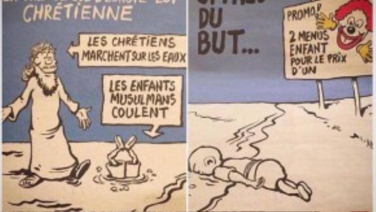 Ấn phẩm mới nhất của tờ báo châm biếm nổi tiếng Charlie Hebdo gây sốc bằng việc đem hình ảnh đứa bé Syria chết trên bờ biển Thổ Nhĩ Kỳ Aylan Kurdi làm trò cười. Hành động này của tòa soạn Pháp đã khiến dư luận phẫn nộ bởi tính bài ngoại và kì thị tôn giáo. Số báo này ra đời sau 9 tháng kể từ ngày Charlie Hebdo bị lực lượng Hồi Giáo tấn công, giết chết 12 nhân viên do nhiều lần đem Đấng tiên tri vĩ đại Muhammad ra chỉ trích châm biếm.