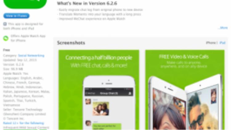 Ứng dụng WeChat phiên bản 6.2.5 bị nhiễm XcodeGhost và bạn cần cập nhật lên 6.2.6 hoặc mới hơn để tránh rủi ro
