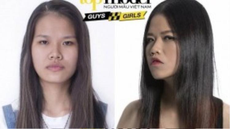 Hồng Vân được nhuộm ombre để nhấn nhá cho gương mặt. Tuy nhiên, kiểu duỗi thẳng đã làm lộ khuyết điểm mái tóc mỏng của cô nàng.