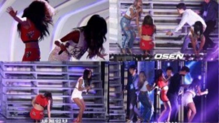 """Màn trình diễn """"thót tim"""" của Sistar vì sân khấu trơn."""