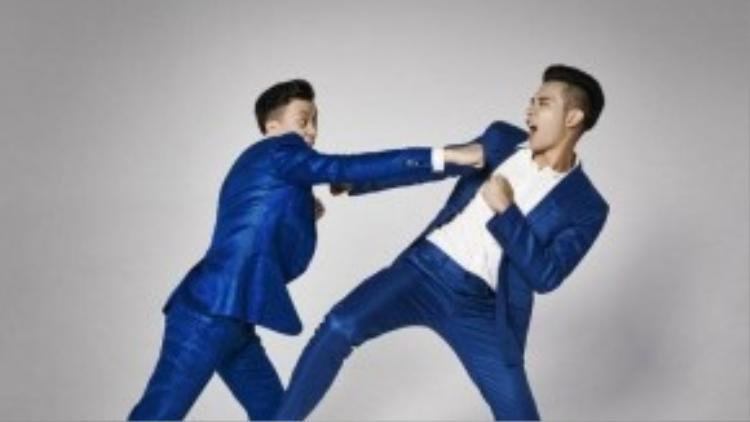 """Trái với không khí ảm đạm trong loạt ảnh hậu trường, Lương Mạnh Hải và Hồ Vĩnh Khoa cũng thực hiện một bộ ảnh với ý tưởng""""tra tấn"""" trong studio."""