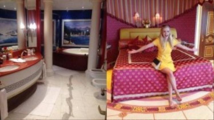 Phòng tắm của Becky có các sản phẩm của Hermes. Một quản gia đã chuẩn bị sẵn bồn tắm cho cô để thư giãn. Trong ảnh bên phải, Becky đang ở trong phòng hoàng gia.