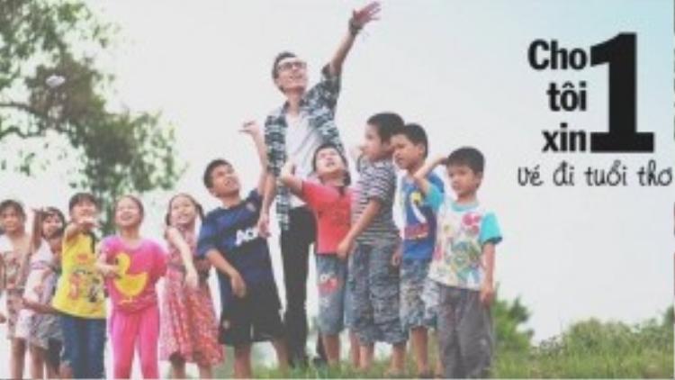Hình ảnh của Lynk Lee và các em nhỏ tại làngquê trong MV.