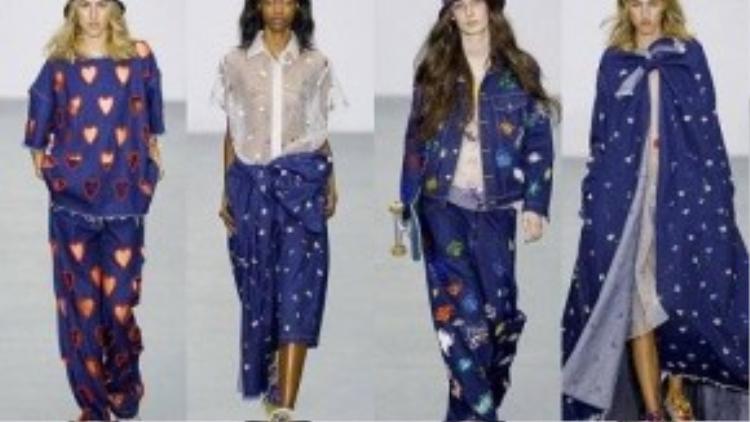 Sử dụng chất liệu vải xuyên thấu làm chủ đạo, Ashish còn trình làng những mẫu thiết kế phá cách bằng vải jeans với xu hướng nổi loạn.