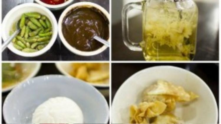 Ngoài mì của các gia vị hấp dẫn, bạn có thể gọi thêm các món ăn thêm khác.