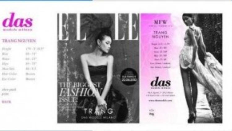 Hiện cô đang là người mẫu thuộc agency DAS. Được biết, Thùy Trang sẽ làm việc tại Milan trong 3 tháng tới.