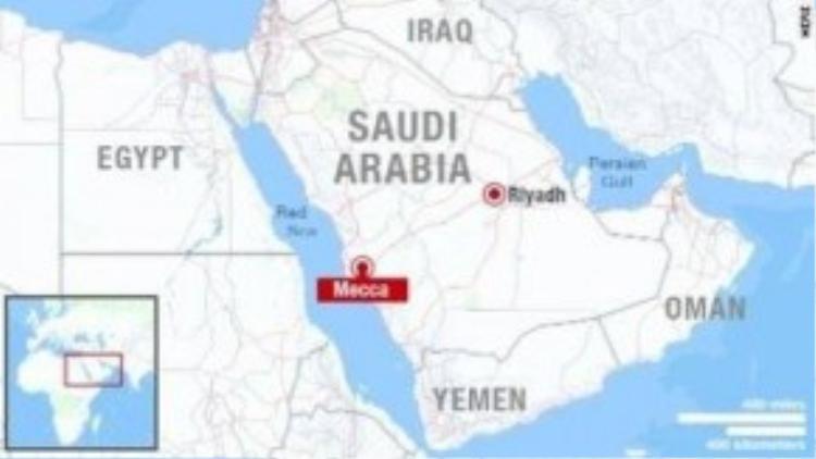 Bản đồ thể hiện vị trí Thánh địa Mecca ở Saudi Arabia. Ảnh: CNN