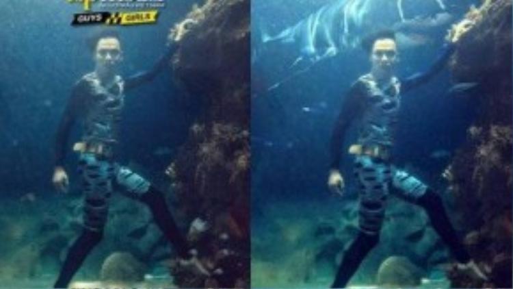 """""""Khi nhìn thấy ảnh gốc của các bạn thí sinh ở dưới nước mình đã nghĩ ngay tới một không gian khác. Ở những bức ảnh ấy có những nét mặt biểu cảm hoang mang, hơi run sợ, có những bạn lộ rõ vẻ thiếu tự tin, lo lắng, sợ hãi điều gì đó… Hiếu nghĩ tại sao không đưa các bạn ấy đến với một thế giới siêu thực, huyền bí của đại dương với những con sứa khổng lồ, với quái vật biển. Khi đưa những nhân vật từ thế giới siêu thực vào bộ ảnh, Hiếu thấy chính sự sợ hãi, thiếu tự tin của các bạn ấy lại thành sự hấp dẫn. Bức ảnh đã mang một hơi hướng hoàn toàn khác""""."""