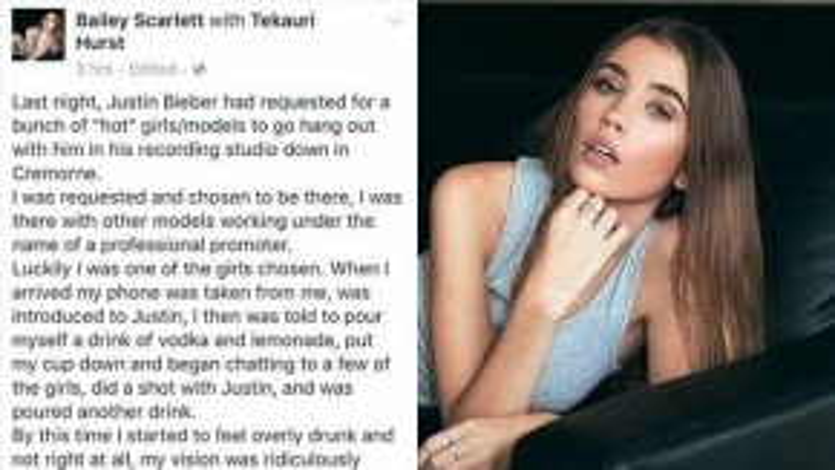 Người mẫu Bailey Scarlett tố cáo bị chuốc thuốc khi dự tiệc của Justin Bieber.