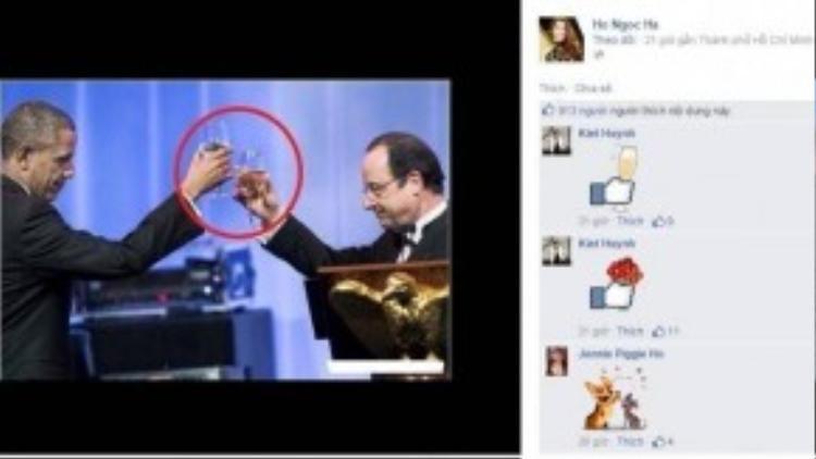 Hà Hồ đăng kèm một bức ảnh cầm ly rượu của Tổng thống Obama.