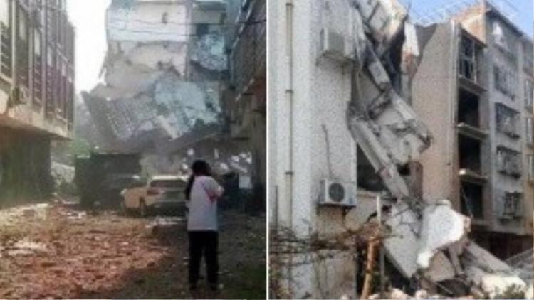 Hiện trường hoang tàn sau vụ nổ (Ảnh: Xina)