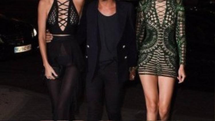 Tối 30/9, em gái Kim Kardashian - Kendall Jenner cùng 2 người bạn thân là chân dài Gigi Hadid và nhà thiết kế Olivier Rousteing đi ăn tối tại một nhà hàng ở Paris, Pháp.