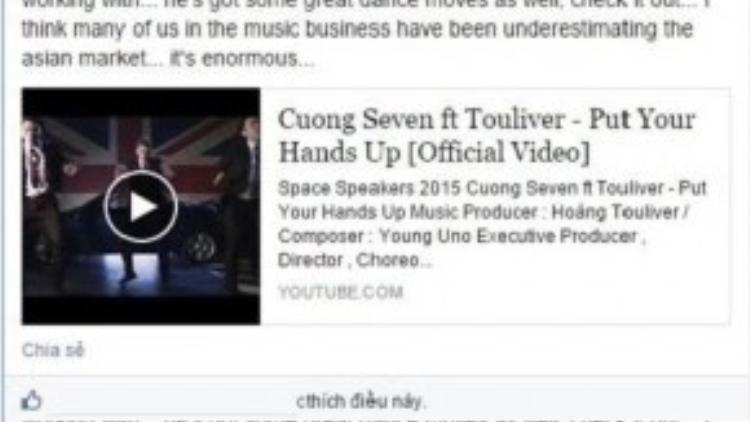 Nhà sản xuất âm nhạc Hitesh Ceon chia sẻ về Cường Seven trên trang cá nhân.