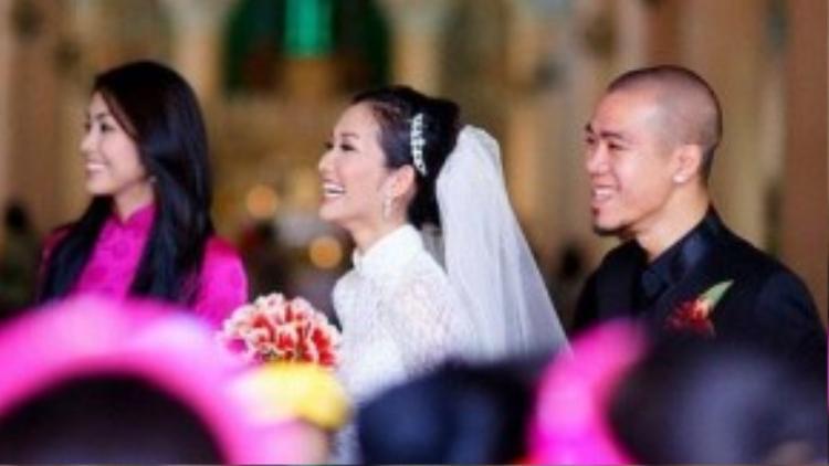 Kim Hiền và DJ Hoàng Phong trong ngày cưới.