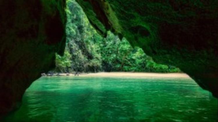 Phải bơi qua một đường hầm rộng 10 mét và dài 70 mét giữa biển mới có thể đến đảoKoh Mook. Nhưng một khi bạn đến được đầu bên kia, phần thưởng sẽ là khung cảnhtự nhiên tuyệt đẹp và bãi biển cát trắng được bao quanh bởi núi rừng thiên nhiên.
