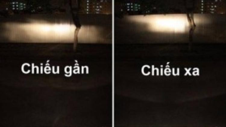 Phân biệt đèn pha (đèn chiếu xa) và đèn cốt (đèn chiếu gần).