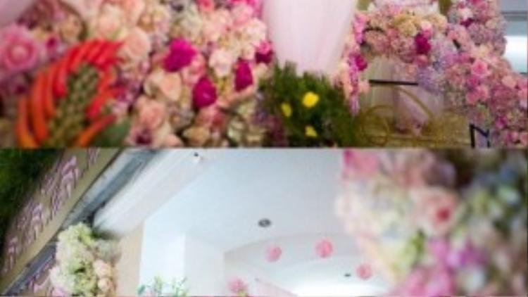 Thúy Diễm bước xuống từ không gian được trang trí sang trọng, ngập tràn sắc hoa.
