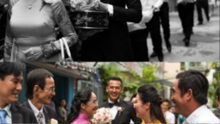 Lương Thế Thành và mẹ đã đến nhà cô dâu. Vợ chồng diễn viên Ngân Quỳnh thay mặt gia đình cô dâu đón tiếp họ nhà trai từ ngoài cổng. Ngân Quỳnh với cặp đôi Lương Thế Thành - Thúy Diễm như người mẹ thứ 2.