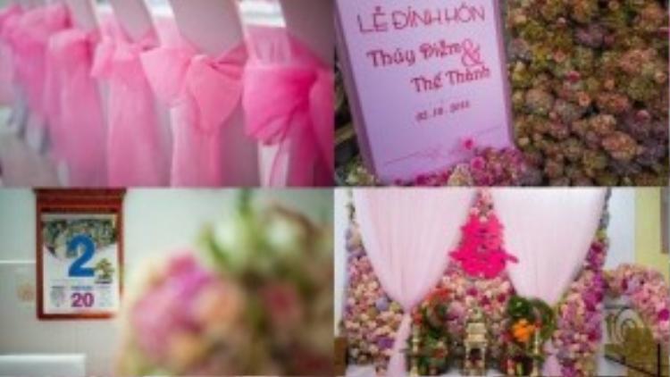 Không gian nhà riêng Thúy Diễm bao trùm bởi tông màu hồng và ngập tràn ngập sắc hoa hồng và cẩm tú cầu.