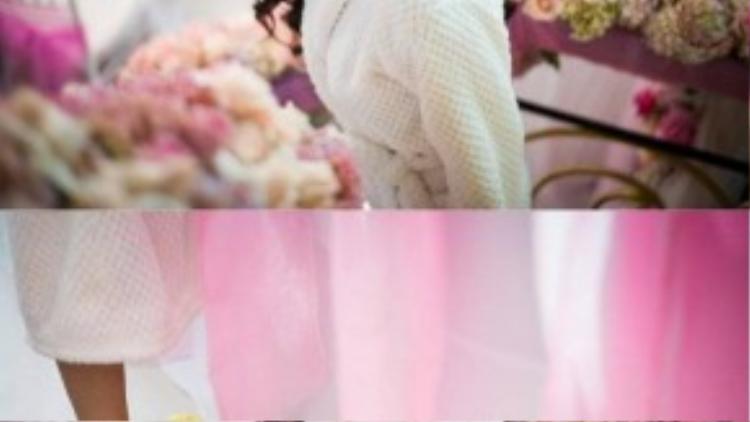 Cô dâu xinh đẹp như lạc vào rừng hoa.