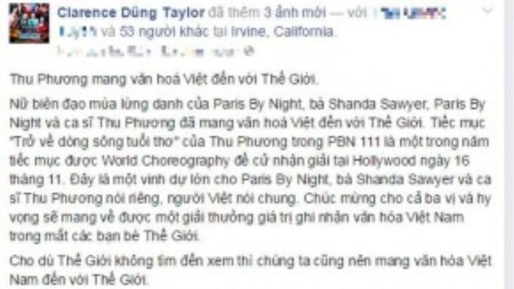 Status về việc Thu Phương lọt đề cử của bầu show Dũng Taylor.