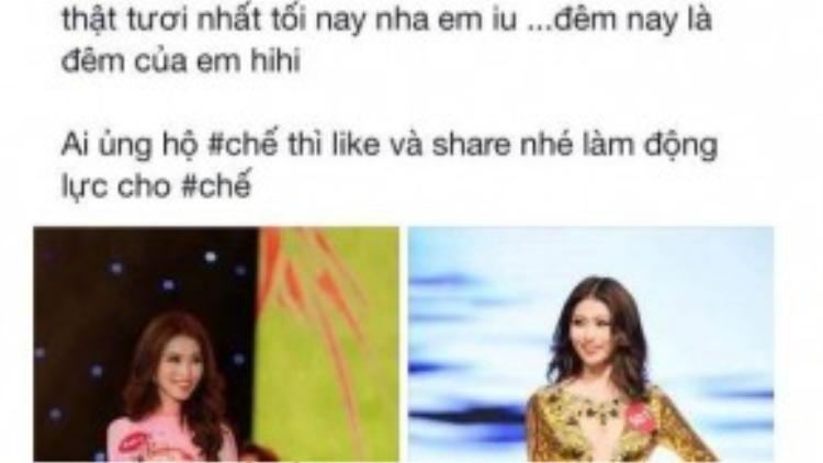 """Quán quân Vietnam's Next Top Model 2013Mâu Thủycũng gửi lời ủng hộ """"hai tay hai chân"""" đến đàn em."""