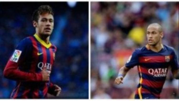 Hình ảnh trước và sau khi Neymar… xuống tóc. Mái tóc chất lừ biến mất, thay vào đó là cái đầu trọc nhìn như dân anh chị.