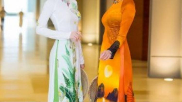 Hai nàng Á hậu rạng rỡ diện áo dài tạo dáng trước ống kính.