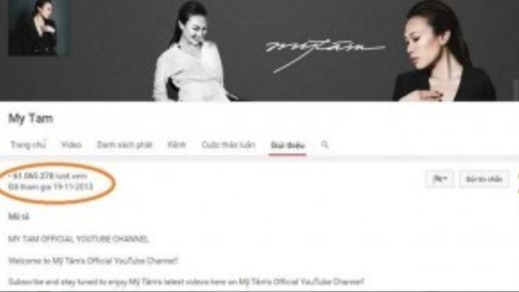 """Mỹ Tâm là nữ ca sĩ sở hữu kênh chia sẻ video riêng có lượt xem """"khủng""""."""