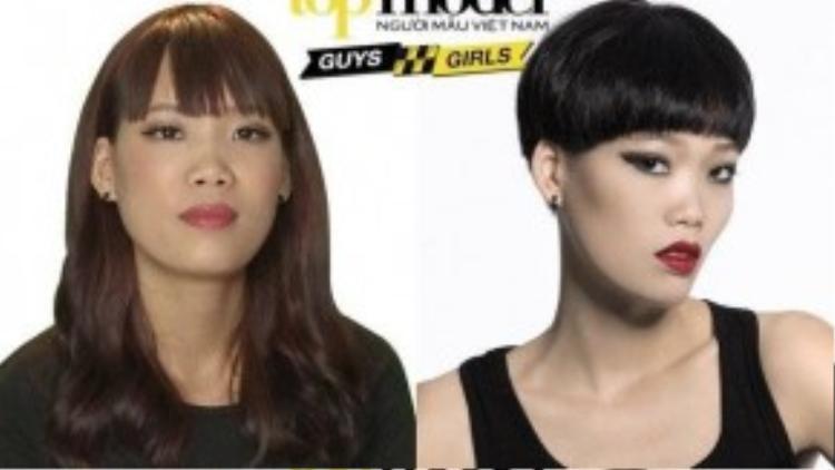 Nguyễn Hợp đã phải bật khóc khi thấy tóc của mình bị cắt đi quá nhiều.