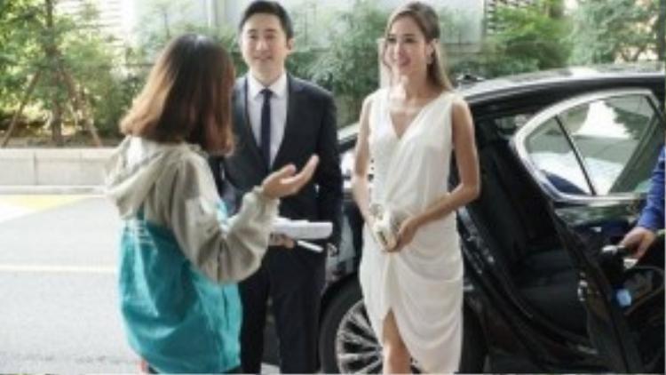 Vũ Ngọc Anh và David Trần trước buổi công chiếu.