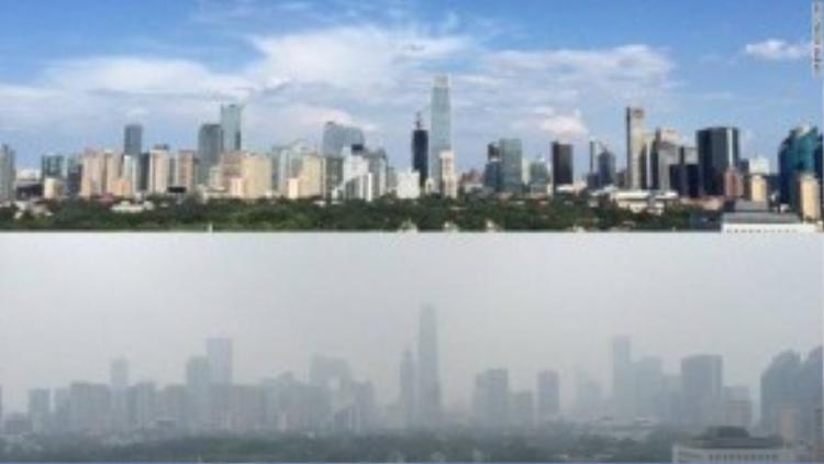Bắc Kinh (Trung Quốc) cũng là một thành phố nạn nhân của hiện tượng mù khô nghiêm trọng. Ảnh: Daily Mail Online.