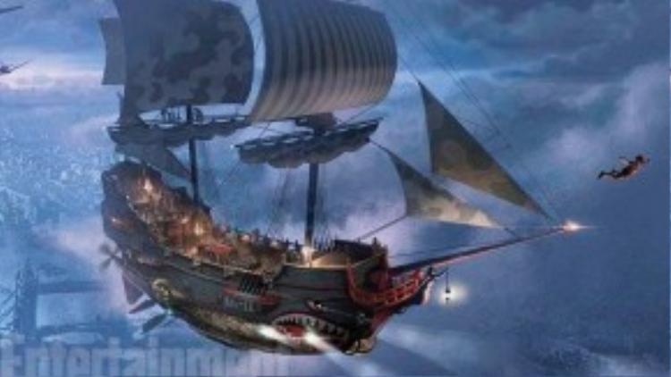 Tàu hải tặc bay trong thiết kế. (Ảnh: Warner Bros)