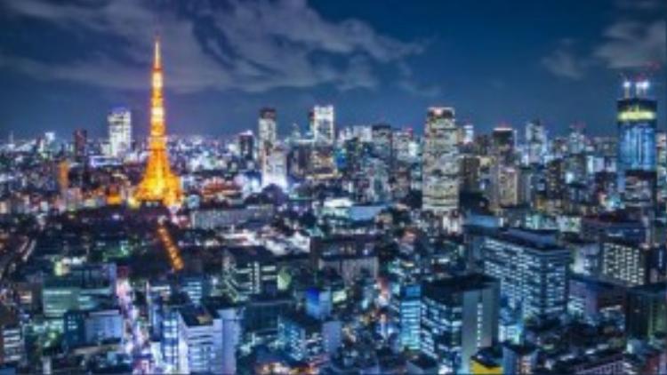 Thành phố Tokyo huyền ảo trong đêm.