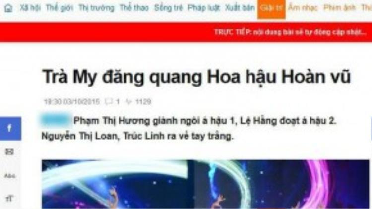 Ngay trước thời điểm có kết quả chính thức, trang tin này đăng tải việc Trà My đăng quang Hoa hậu Hoàn vũ Việt Nam 2015.