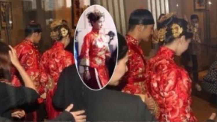 Vào trưa 8/10, lễ rước dâu theo nghi lễ truyền thông của Angela Baby và Huỳnh Hiểu Minh diễn ra tại khách sạn Bốn mùa (Thượng Hải). Angela Baby trong trang phục xường xám truyền thống bên chú rể nổi bật không kém.