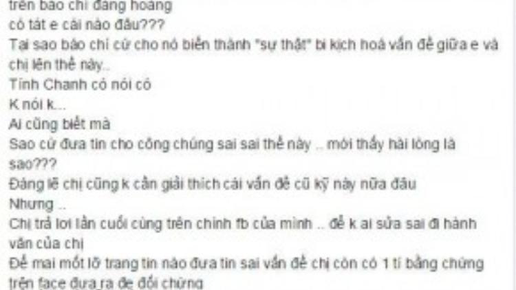 Dòng chia sẻ của Phương Thanh trên facebook nhận được sự quan tâm của dư luận.