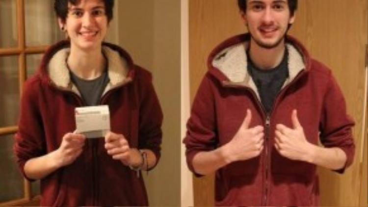 Vẫn mặc một bộ đồ nhưng người xem dễ dàng nhận thấy thay đổi rõ rệt trên gương mặt của Jamie trong 3 năm uống thuốc chuyển giới.
