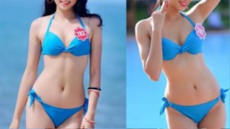 So sánh hình thể của hai hoa hậu trong cuộc thi Hoa hậu Việt Nam 2014.