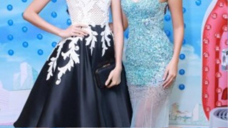 Cô chụp ảnh lưu niệm cùng á hậu Lệ Hằng. Sau cuộc thi Hoa hậu Hoàn vũ Việt Nam 2015, Lệ Hằng rất tích cực góp mặt trong các sự kiện của làng giải trí.